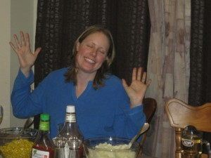 I call this one 'blissful jazz hands'. :P (From a previous Christmas dinner.)